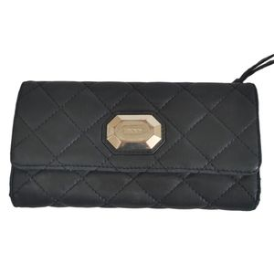 DKNY Quilted Flip Over Checkbook Wallet Black